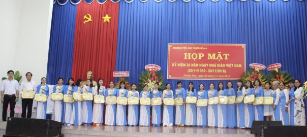 Bà Võ Thị Bích Thảo - Thường vụ Đảng ủy, phó chủ tịch UBND xã trao giấy chứng nhận LĐTT cho tập thể GV nhà trường